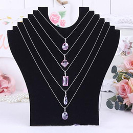 Wholesale Stand Holder Acrylic - Necklace Bust Jewelry Pendant Chain Display Holder Neck Velvet Stand Easel