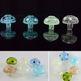Wholesale Glow Dark Hats - Carb Cap Glass Glow in the Dark Colorful Mushroom Shape Hat UFO Caps Luminous Bubble Cap OD 31mm for Bowl Water Pipe Dab Oil Rigs Banger