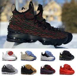 Wholesale Ash Black Sneakers - (With box) Lebrons 15 BHM Graffiti Black white 15s Wine Red Grey Mens Basketball shoes Ashes Cavs Equality james Casual Sports Sneakers