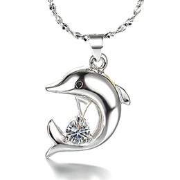 Strass rhinestone colar de pingente de golfinho on-line-CZ Colar de Diamantes Moda Feminina Bonito Golfinho Rhinestone Cadeia Curta Colar de Pingente de Jóias Branco Banhado A Ouro