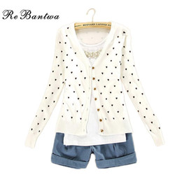 Wholesale Heart Print Sweater - Wholesale- Autumn And Winter Female New Cashmere Cardigan V-Neck Knit Shirt Slim Korean Version Of The Plus Size Short Love-heart Sweater