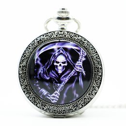 Wholesale Skull Watch Necklace - New Fashion Carving Skull Flame Death Quartz Pocket Watch with Necklace Chain Gifts Boys
