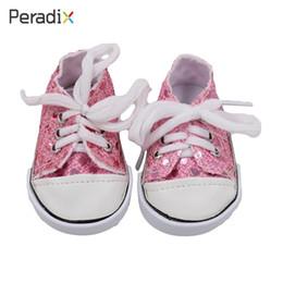 2018 Envío de gota Zapatos de muñeca con cordones American Girl Doll Zapatos hechos a mano Lentejuelas Regalos Decoraciones de lienzo desde fabricantes
