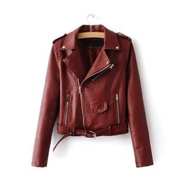 Wholesale Bright Shorts - 2018 S-XL New Spring Fashion Bright Colors Good Quality Ladies Basic Street Women Short PU Leather Jacket FREE Accessories
