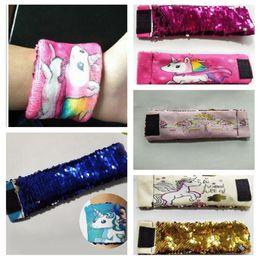 Wholesale Wrap Style Bracelets - Magic Unicorn Reversible Sequins Mermaid Bracelet Cute Sequin Wrap Bracelet Wristband Cuff Warp Braclets Wrist Band 7 Styles 30pcs OOA3904