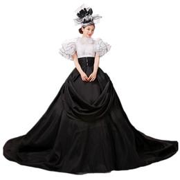 Vestidos de fiesta victorianos del renacimiento online-YF Renaissance Victorian Dress Ball Gown Vampire Disfraz de Halloween Belle Traje Real Histórico sexy