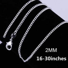 schöne männer schmuck Rabatt Großhandel 16-30 Zoll Silber überzogene 2 MM Kette 925 Halskette Schmuck Beliebte Schöne Mode Frauen Männer Charme ziemlich schön