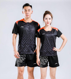 blue badminton t shirts Promo Codes - NEW 2018 Li-Ning badminton wear shirts,Table tennis shirts, lovers suits sport shorts,Polyester Breathable Quick-drying tennis sport t-shirt