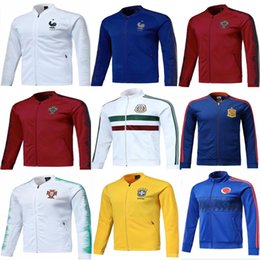 Wholesale red brown jacket - 2018 2019 Mexico jacket 2018 World Cup Russia football jerseys tracksuit Colombia Argentina Spain soccer training jacket
