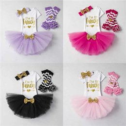 Wholesale Dress Socks Girls - 6M 1T 2T My First Birthday Letter Rompers + TUTU Skirts+Socks 3PCS Sets Infant Toddler Girl Bubble Skirt Princess Dress