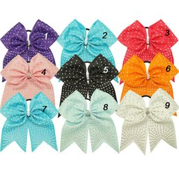 """Wholesale Rhinestone Bow Center - 7"""" Rhinestone Cheer Bows With Elastic Band For Kids Girls Handmade Large Crystal Center Hair Bows Hair Accessories 10pcs"""