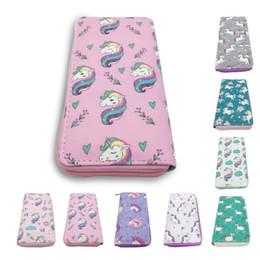 Cartera de dibujos animados online-Nueva Moda de Dibujos Animados unicornio Animal Impresión monedero femenino de la señora de la PU Bolso carteras de diseño de lujo bolso billetera