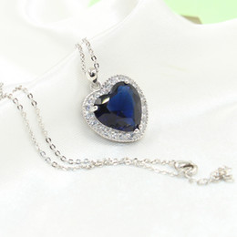 Wholesale Blue Heart Diamond Pendant - Heart choucong Unique Brand New Luxury Jewelry 925 Sterling Silver Big Blue Sapphire CZ Diamond Party Chain Pendant Necklace For Women Gift