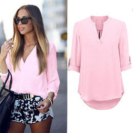 Wholesale ladies three quarter sleeve blouses - Women's Ladies Summer Loose Tops Three Quarter Sleeve Shirt Casual Blouse Fashion V-Neck Chiffon Blouses