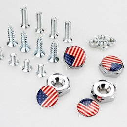 Canada USA United States Flag Drapeau américain Plaque d'immatriculation Vis Filetage Plaque d'immatriculation Boulon Cadre Boulons Vis universelles Chrome Car Styling Offre