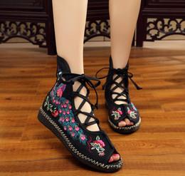 Wholesale custom sandals - peep toe boots sandals embroidery cloth shoes Flat Sandals Handmade soft outsole plaform sandals folk custom shoes