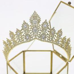 Cristal de zircon complet mariée mariage couronne doré bandeau princesse royale soirée bijoux de cheveux Accessoires de mariage ? partir de fabricateur