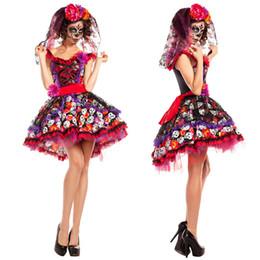 Erwachsene prinzessin röcke online-2018 frauen Halloween Party Kleidung Erwachsene Horror Prinzessin Blume Rock Ghost Zombie Kostüme Kostüm Cosplay Outfit