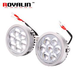 2019 luz de advertência do tejadilho ROYALIN Carro LEVOU Faróis Projetor de Alta Feixe de Lente com Olhos do Diabo Luzes Da Motocicleta para H1 H4 H7 9005 lâmpadas Retrofit DIY