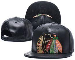 Wholesale Leather Logo Sports Hats Caps - Men's Full Leather Black Chicago Blackhawks Snapback Hat Logo Embroidery Sport NHL Adjustable Ice Hockey Caps Flat Visor Baseball Hats