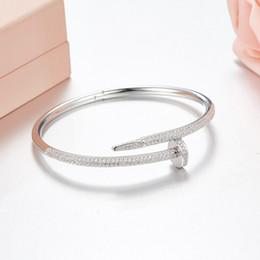 Marca caliente pura plata de ley 925 brazalete de uñas brazalete completo cz personalidad de moda de cristal del todo fósforo amor brazalete de calidad superior desde fabricantes