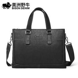Bolso de mezclilla negro online-BISON DENIM Business Men maletín bolsa vaca negro de gran capacidad de lujo del bolso del ordenador portátil bolsas de 14 pulgadas para hombres