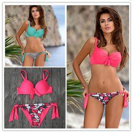 4580038ac815e 2018 New Sexy Bikini Women Swimsuit Push Up Swimwear Solid Bandage Halter  Bikini Set Beach Bathing Suit Swim Wear Biquini XXL