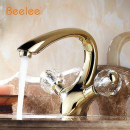 Wholesale basin taps mixer - Golden Brass crystal handle Bathroom Basin Faucet tap toilet water faucet hot&cold basin sink Mixer Tap BL6046G