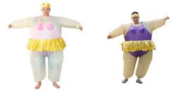 inflable inflables hombre Rebajas Disfraz de bailarina inflable adulto lindo traje gordo para mujeres / hombres Ventilador de aire operado explotar partido traje de mono de lujo mascota WSJ-36