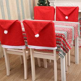 назад c Скидка Санта-Клаус шляпа стул охватывает Рождество стул задняя крышка рождественские украшения для свадьбы крышка стула столовая