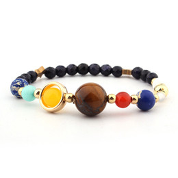 Wholesale Delicate Bracelets - Delicate Women Beaded Bracelet The Eight Planets Elastic Rope Nature Stone The Solar System Universe Galaxy Charm Gift