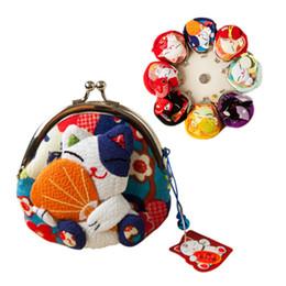 Carteira de tecido bordado on-line-Kawaii estilo gato japonês, bolsa da moeda gato de sorte, sacos de moedas, Zero Carteira, bordado tecido quimono saco de moedas monederos