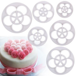Wholesale Rose Cookies Mould - Wholesale- Hot Sale 6X Rose Flower Fondant Cake Cookie Sugarcraft Mould Cutter Mold Decorating Tools