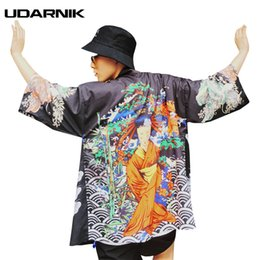 Wholesale japanese kimono styles - Men Kimono Cardigan Yukata Coat Outwear Jacket Japanese Style Retro Fashion Loose 3 Colors 3 4 Sleeve Summer New 226-065