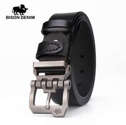 e02ed5218f53 BISON DENIM véritable ceinture en cuir pour hommes cadeau designer ceintures  hommes haute qualité Cowskin personnalité boucle, Vintage jeans N71223