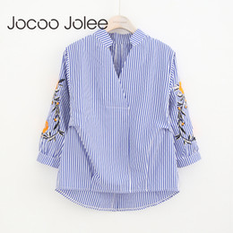 Wholesale Collar Blouse Neck Designs - Jocoo Jolee Casual Striped Women Blouse Vintage Embroidery Design Long Sleeves V-Neck Collar Women Shirts Winter New Arrivals