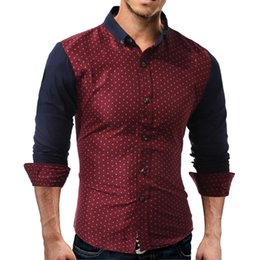 59c4d5d5 2018 New Luxury Stylish Men Patchwork Slim Long Sleeve Dress Shirts Fashion  Casual Designer Dress Polka Dot Shirt Plus Size M-2XL