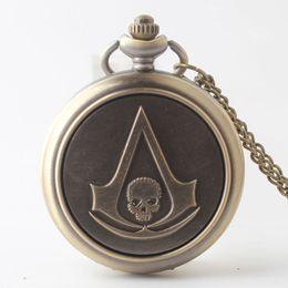 Wholesale Skull Watch Necklace - Bronze Fashion skull pattern Alloy Retro Style Quartz Pocket Watch Necklace for Men Women Children Xmas Gifts