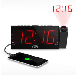 Wholesale Large Display Led Clock - Inlife Digital Dimmable Projection Alarm Clock FM Radio 1.8In Ultra Large LED Display USB Port 180Degree Swivel Table Wall Clock