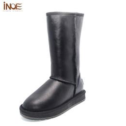 Wholesale Wool Lined Snow Boots - INOE Winter Footwear For Women Wool Lined Shoes Black Women Boots With Fur Waterpfoof Knee High Sheepskin Snow Fur Winter Boots