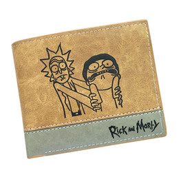 Wholesale Fans Notes - 2018 New Style Rick and Morty Cosplay Anime Wallet Khaki Color PU Card Holder High Quality Purse for COS Lovely Fans 2 types