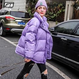 mulher parka de prata Desconto Fitaylor Novas Mulheres Para Baixo Casaco Curto Casaco de Inverno Pato Branco Para Baixo Prata Parkas Roxo Feminino Solto Grosso Quente Neve Outwear