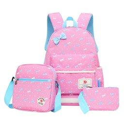 Wholesale cute pencil cases for girls - 2017 cute bow school bags for girls kids bag canvas backpack women bagpack children backpacks dot shoulder bags blue pencil case