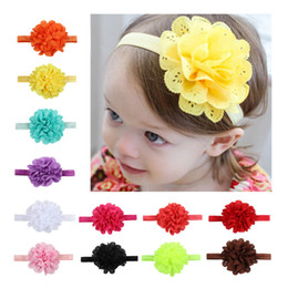 Wholesale Head Flowers Accessories - 12 Colors Flowers Headbands Baby Children Hair Sticks Elastic Kids Hair Accessories Flowers Girls Head Bands Infant Headband KH226