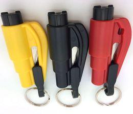 Wholesale blue knifes - Mini Safety Hammer Emergency Bodyguard 3 In 1 SOS Whistle Seat Belt Cutter Window Break Escape Window Glass Breaker Keychain Whistle Knife