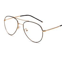 b5ba2216c5 2018 New Oval Metal Big Frame Eyeglasses Frames Men Women Optical Plain  Mirror huge lenses Eye Glasses Frame for Myopia Glasses
