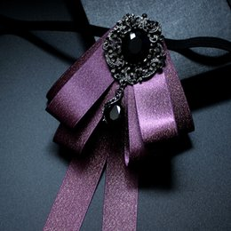 Pajarita morada oscura online-Ropa Boutique de gama alta Accesorios de color púrpura oscuro Uniforme de la boda de seda Vestido hecho a mano de los hombres Vestido de la boda coreana Corbata de lazo