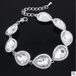 Wholesale Bridal Jewelry Set Blue - Hot New Crystal Bridal Jewelry Sets Silver Color Teardrop Bridal Bracelet Earrings Sets Wedding Jewelry Free Shipping