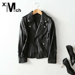 genuine ch leather Coupons - xiM&M@ch Autumn Winter New Fashion Genuine Leather Jacket Zipper Breasted Softly Sheep Leather Black Jacket Outwear JK09933E