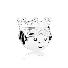 Wholesale Little Girls Charms - European Silver Plated Charms Spacer Loose Beads Fit Pandora Bracelets 925 Jewelry Little Prince Princess for Sale Girls Mom Jewelry Making